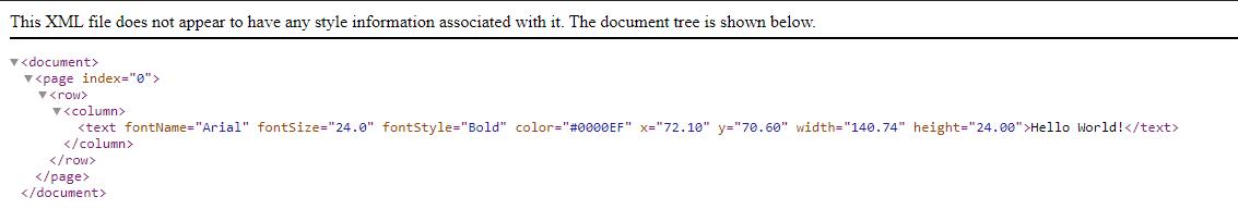 Screenshot of Output XML