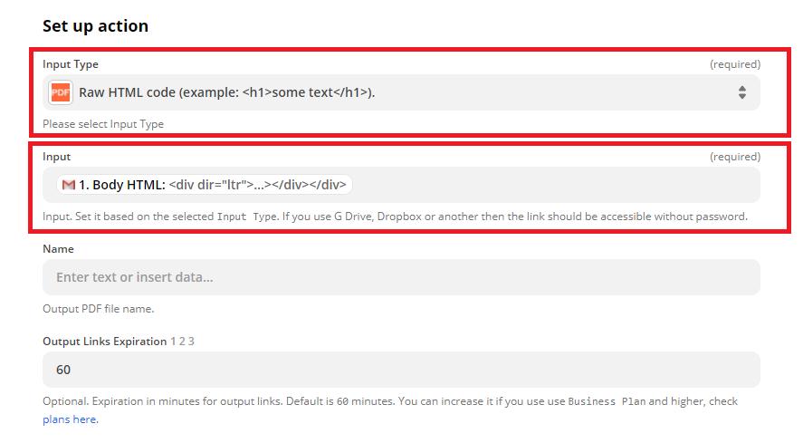 Zapier - Gmail HTML to PDF