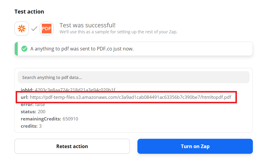 PDF.co Processed The Request And Returned A Temporary URL
