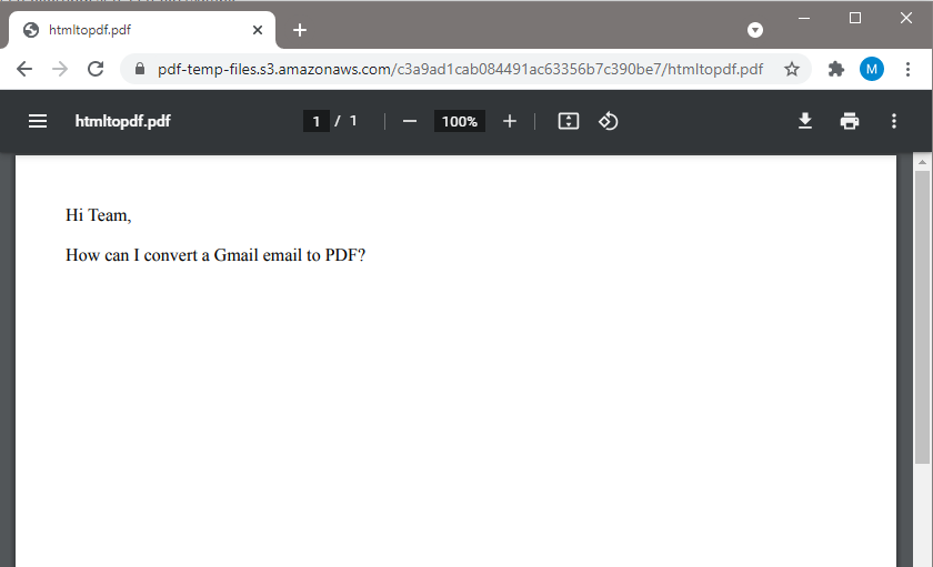 Converted Gmail Email To PDF