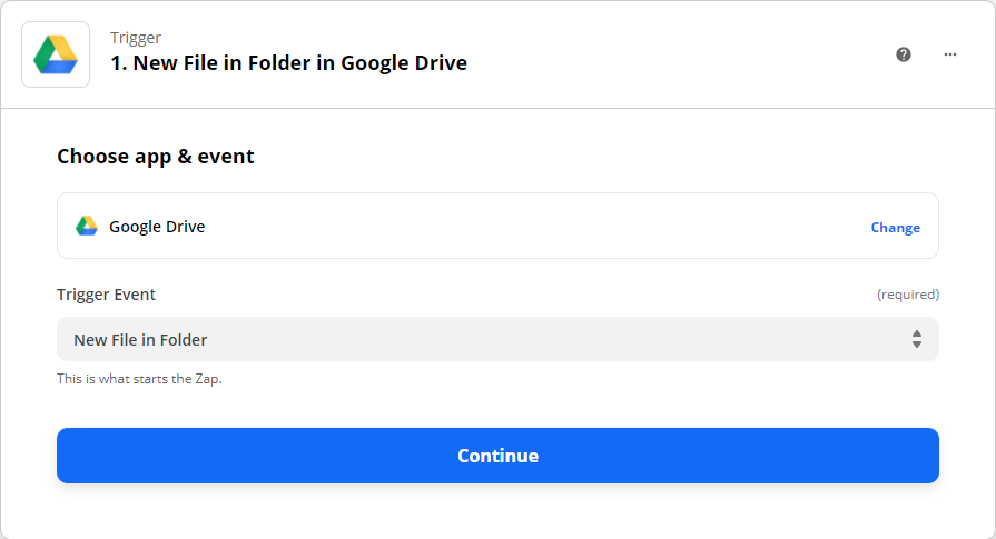 Selecting Google Drive as the Trigger and New File in Folder as the Trigger Event