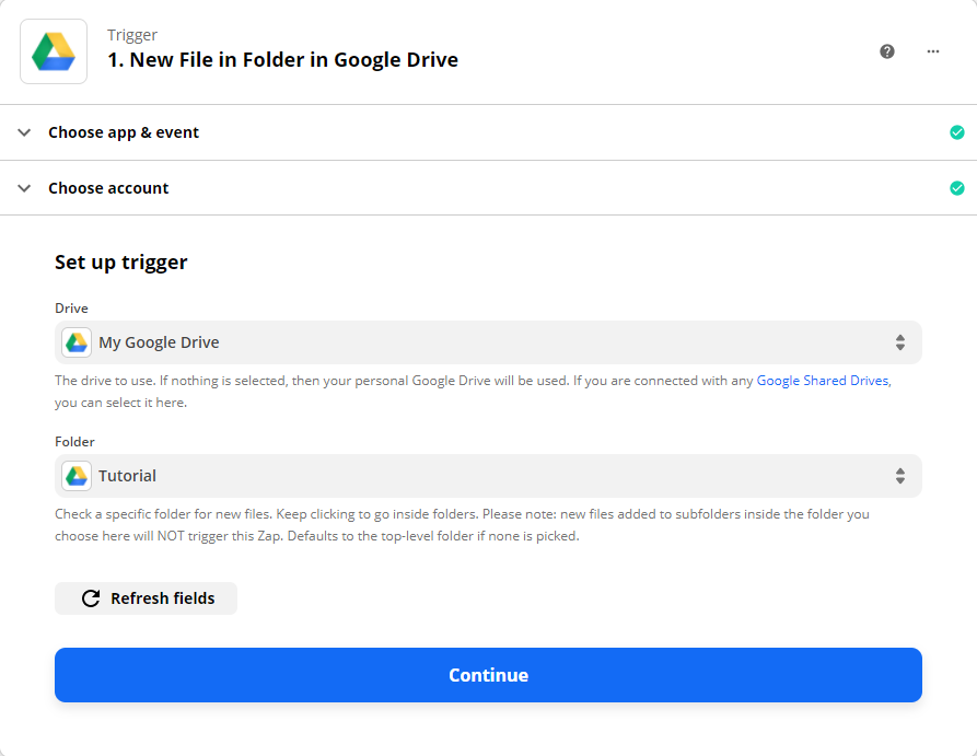Choosing My Google Drive as the drive to be used and selecting the folder that contains the PDF File