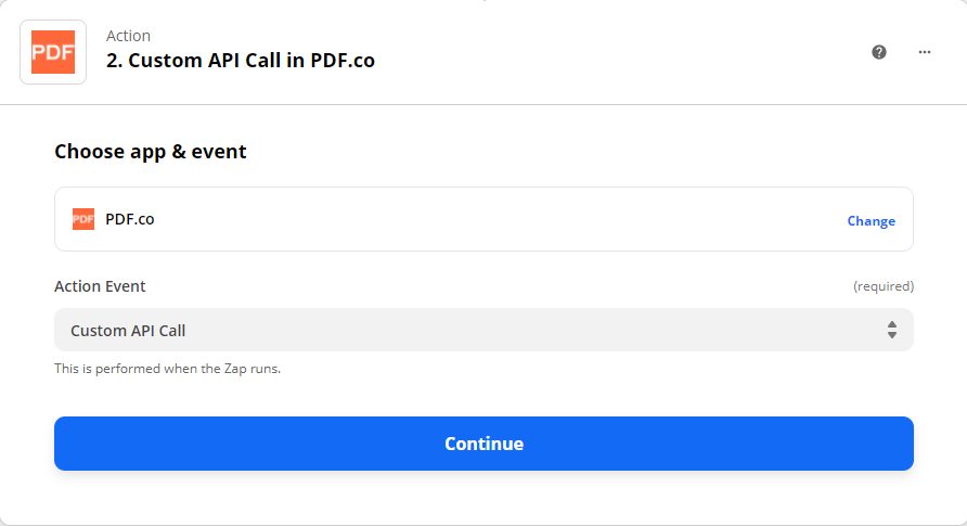 Choosing PDF.co as the App Event and Custom API Call as the Action Event
