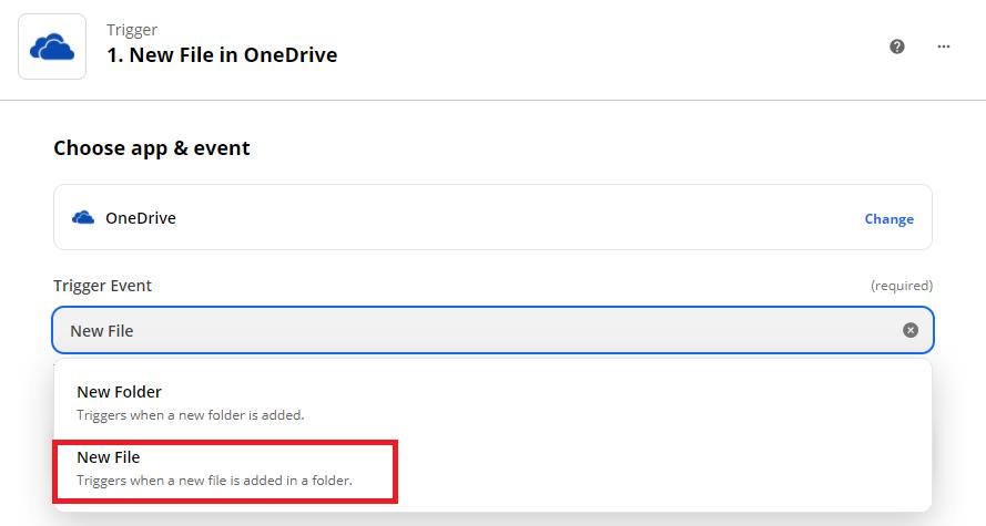 Setup OneDrive In Zapier