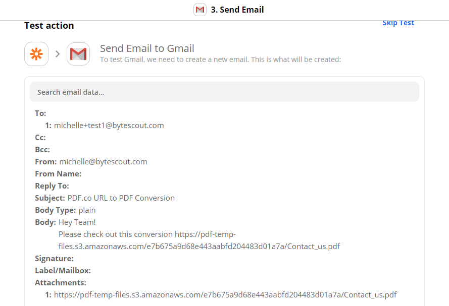 Send Gmail Email Test Action