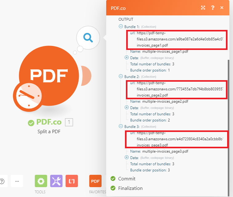 PDF.co Successfully Split All PDF Pages With The Word Invoice Number