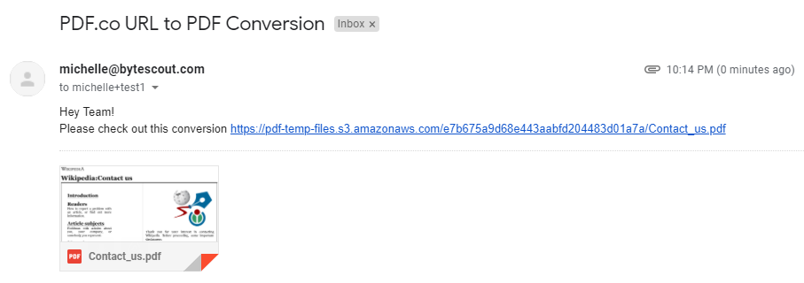 Email Received From Generated PDF Through Gmail In Zapier