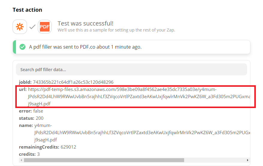 PDF.co Generated A Temporary URL To Review The Output
