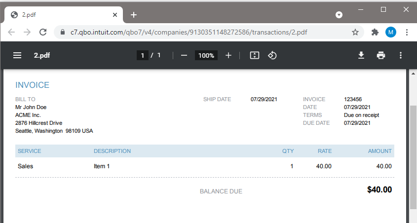 Quickbooks Online Created Invoice Using PDF.co And Zapier