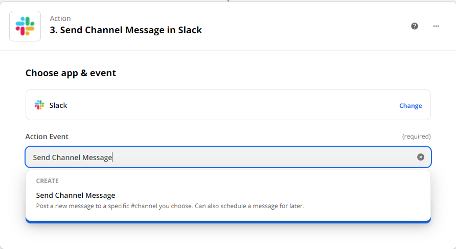 Choosing send channel message as the action event