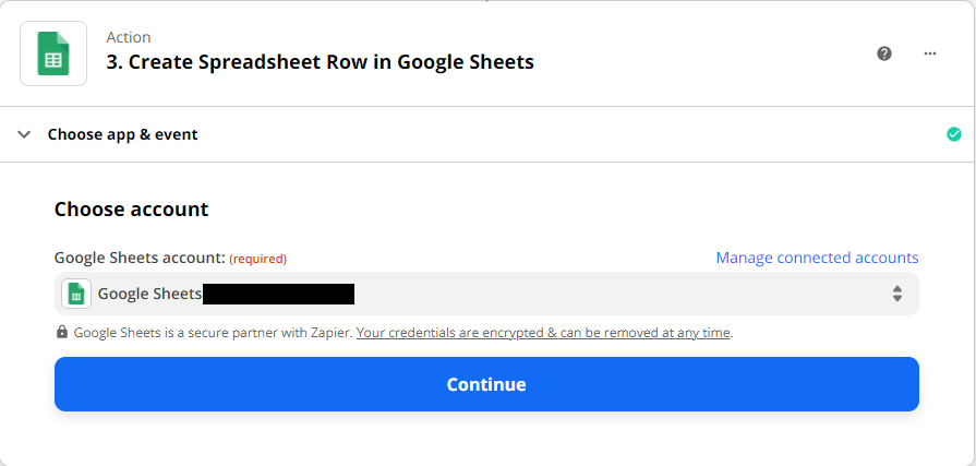 Choosing a google sheets account to be used in Zapier