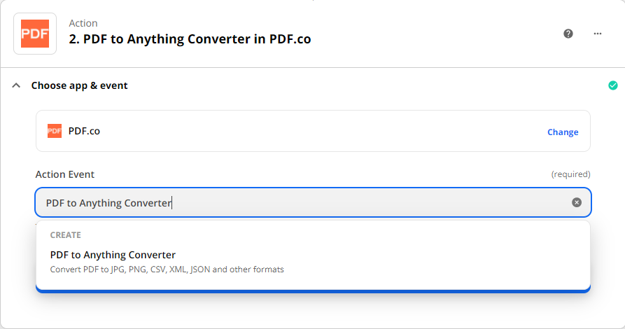 Selecting PDF to Anything Converter as the action event