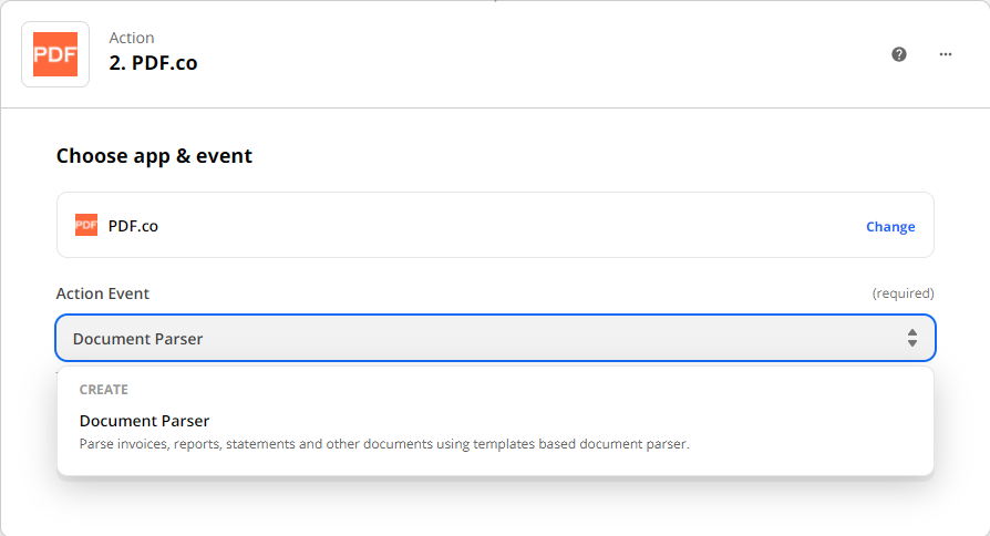 Choosing Document Parser as the action event