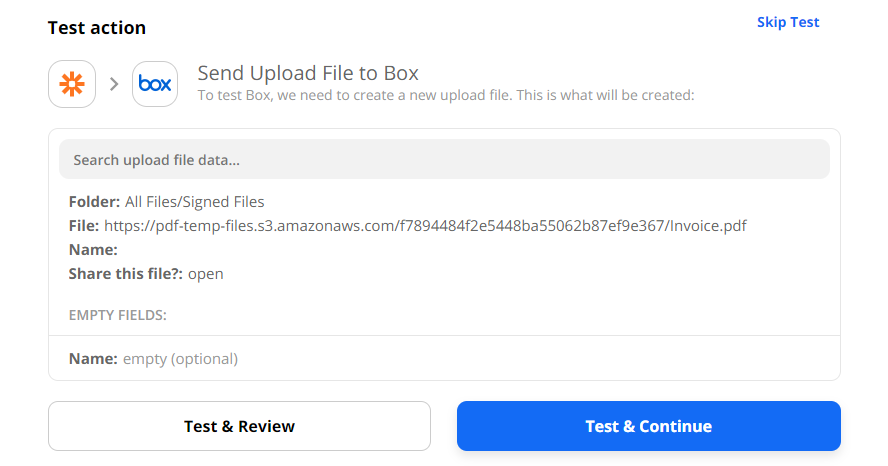 Test & Review Upload File Action