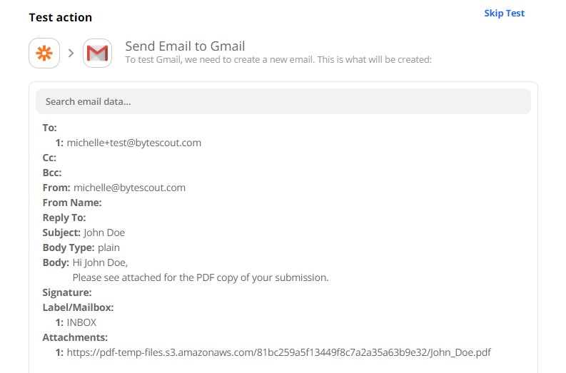 Send Email Configuration To Gmail To Test