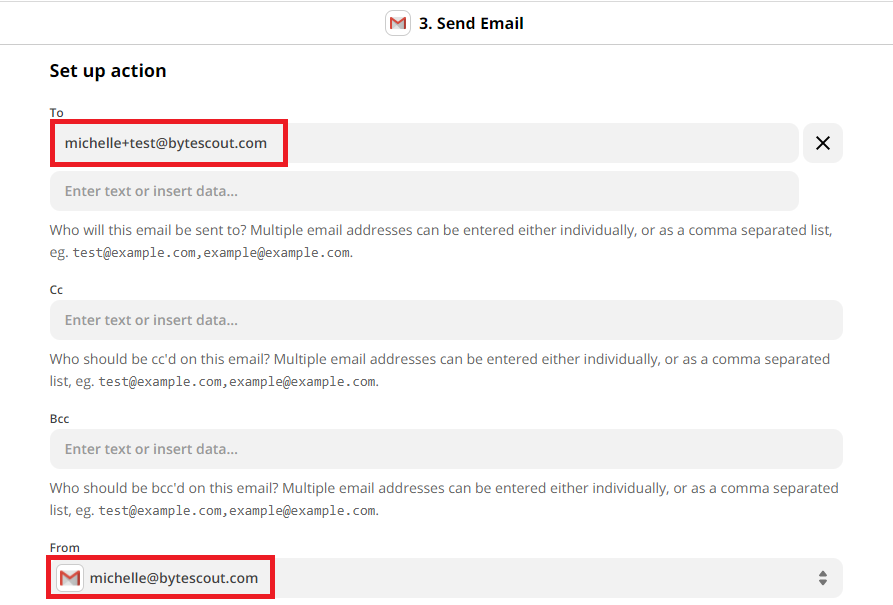 Choose To And From Email Addresses