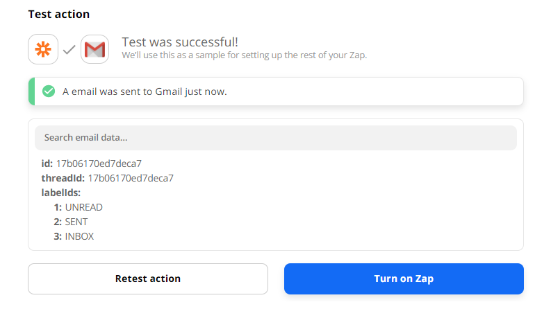 Gmail Email Sent Successfully