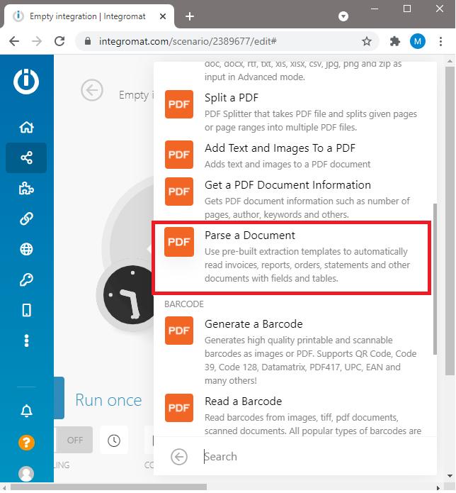 Choose PDF.co Document Parser Module In Integromat