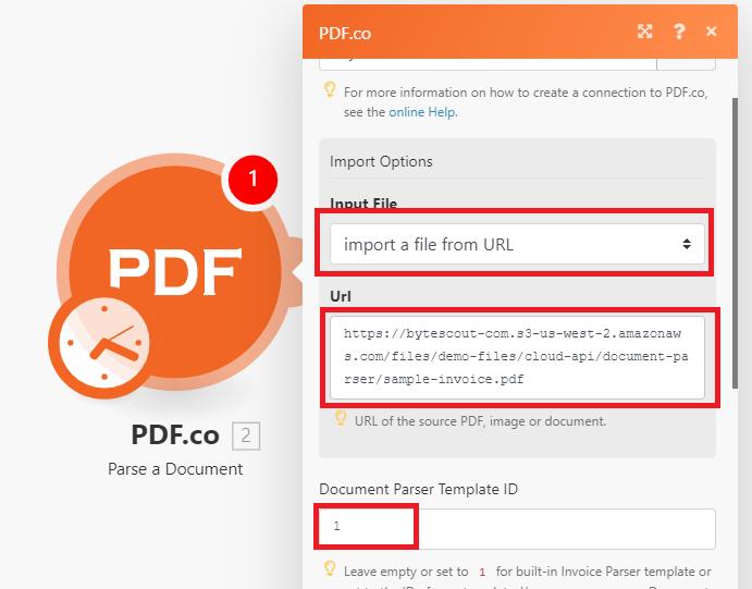 Configure PDF.co Parse A Document Module