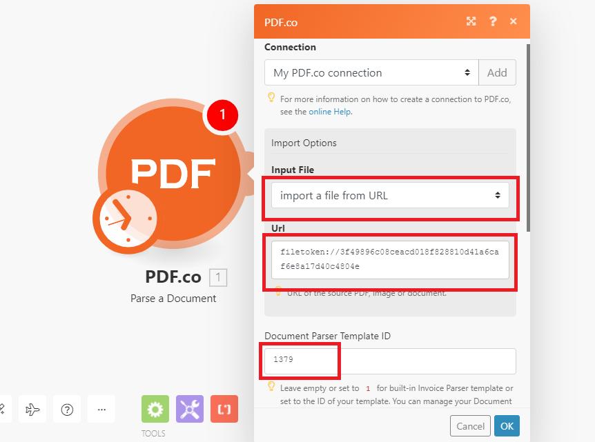 Configure PDF.co Document Parser Module