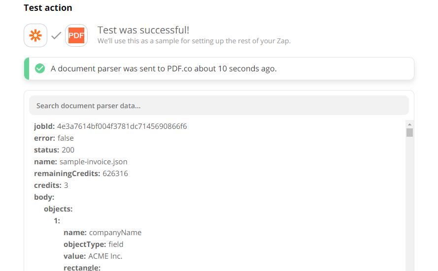 Document Parser Test Returned Parsed Text