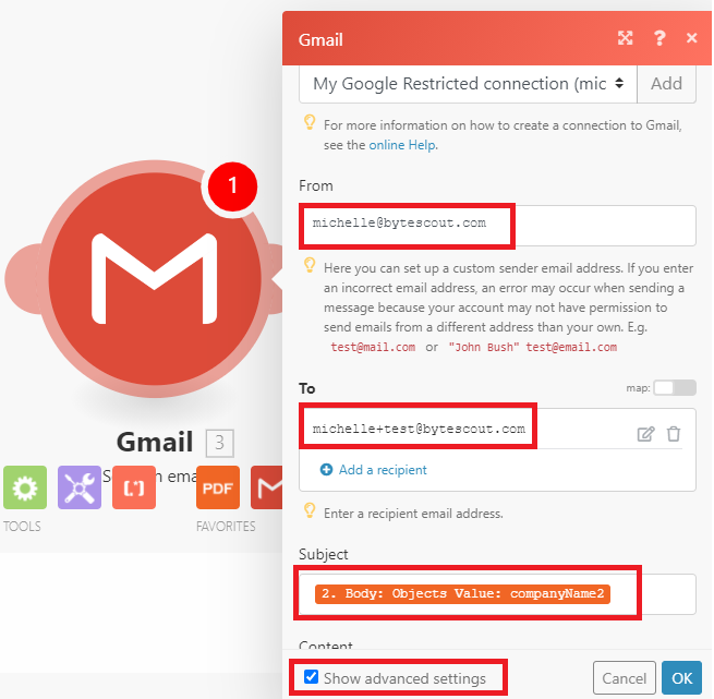 Add Gmail Module's To And From Email Addresses