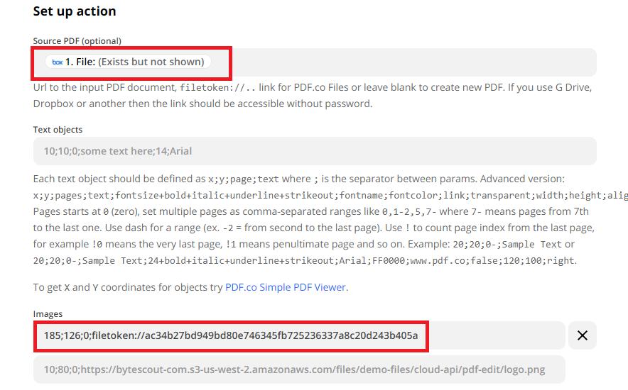 Configure The PDF Filler