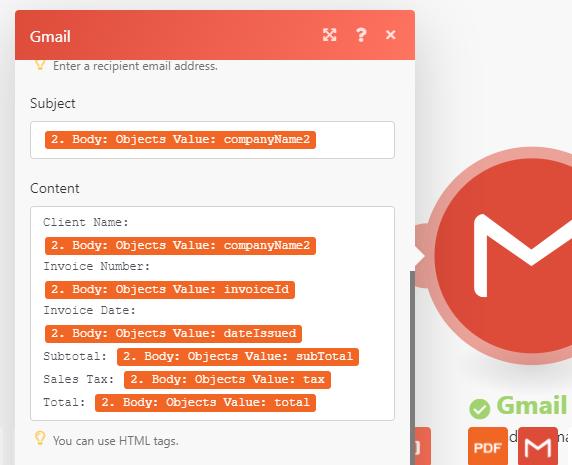 Setup Gmail With Parsed PDF Data