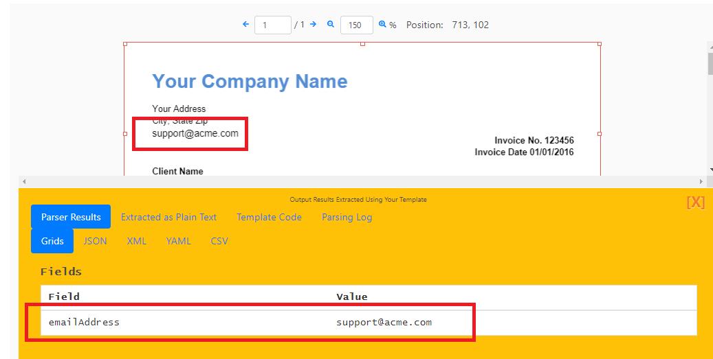 Parse Email Address Result