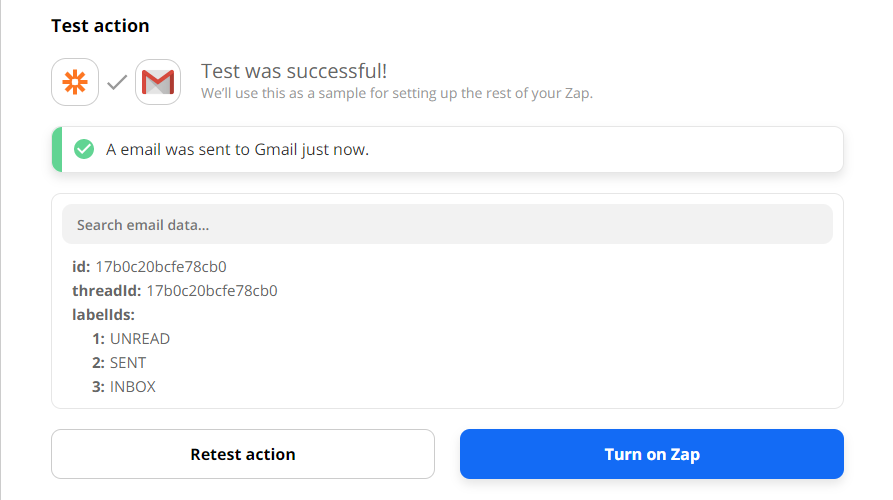 Gmail Email Test Success Confirmation