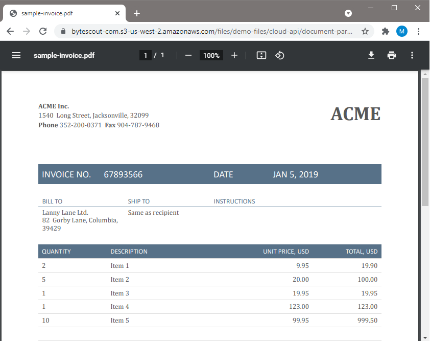 Sample PDF Invoice To Parse Data