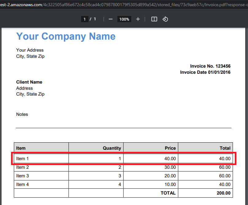 Sample PDF Invoice To Parse And Use In Quickbooks Online