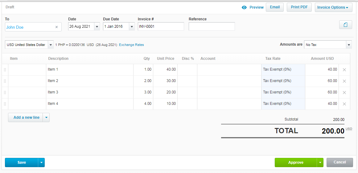 Output of Sales Invoice
