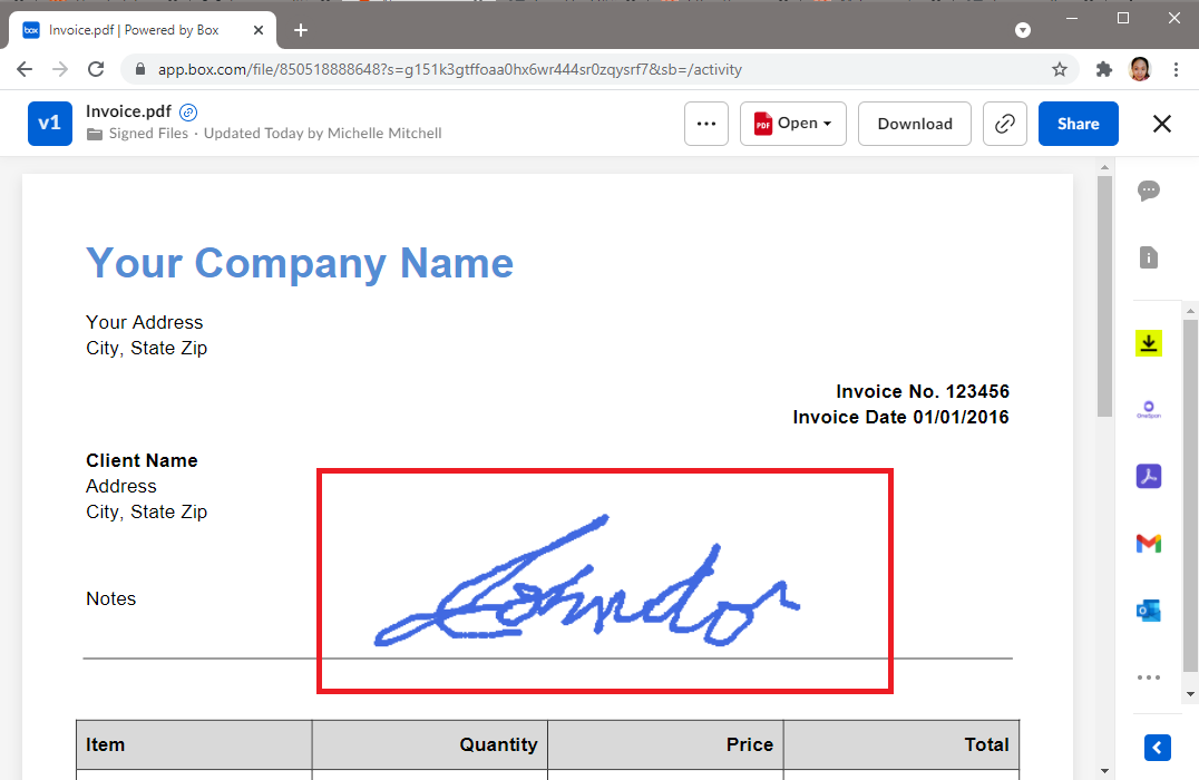 Signed PDF File Uploaded In Box