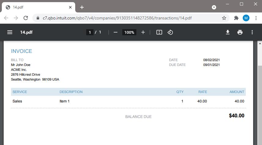 Generated QuickBooks Online Invoice From Parsed PDF Data