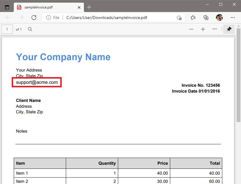 Sample Source PDF To Parser Email Address