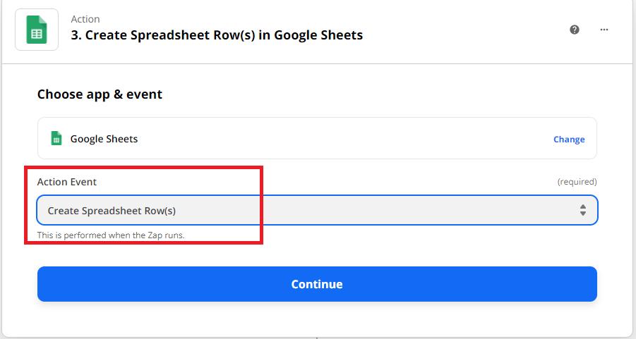 Create Spreadsheets Row