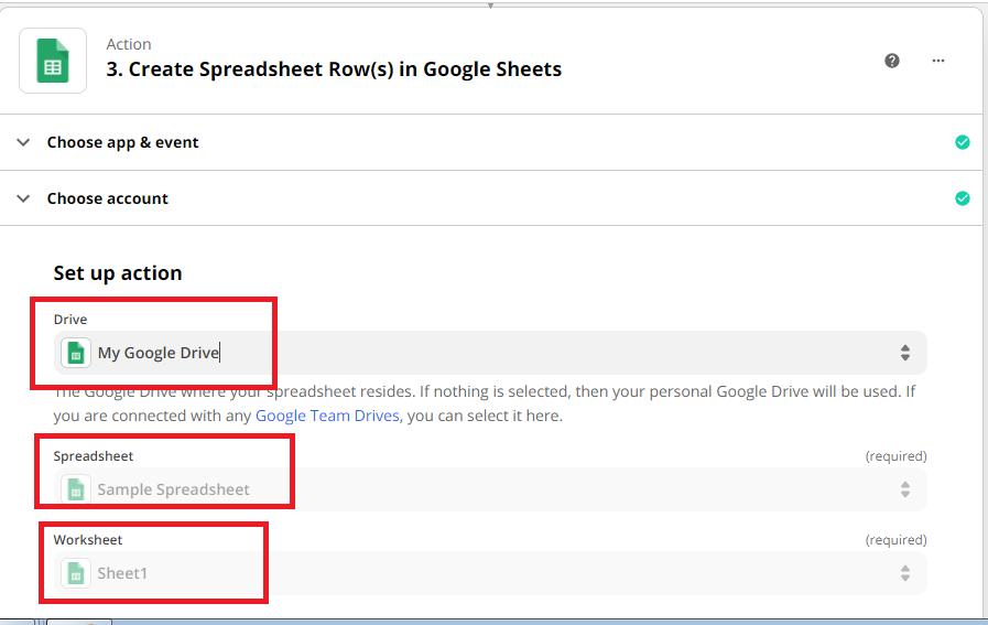 Set Up Action for Google Sheets