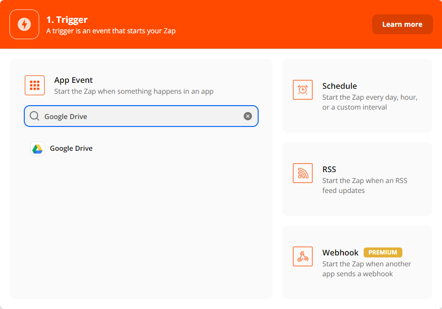 Choosing google drive as the trigger app