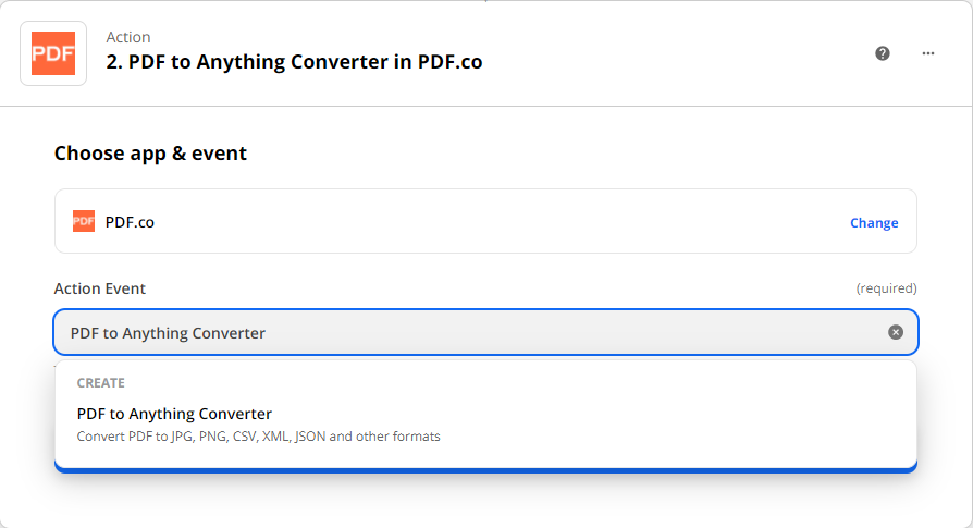 Choose PDF to Anything Converter as action event