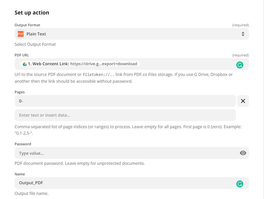 Setup action parameters