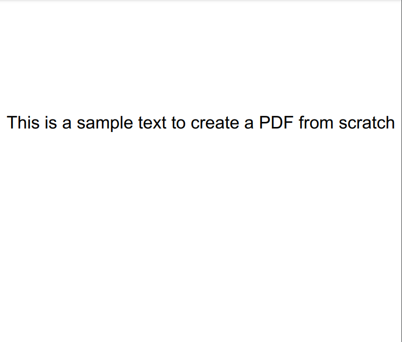 Screenshot of the created PDF from Scratch using PDF Filler