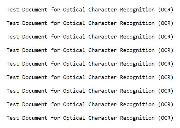 Screenshot of output text