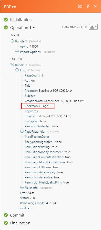 Screenshot of the Output