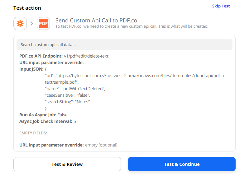 Test PDF.co Custom API Call Configuration