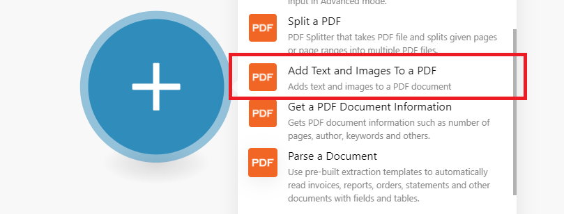Use Add Text And Images To A PDF Module
