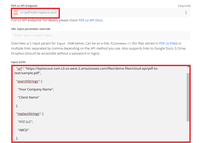 Configure The Custom API Call With Search And Replace Endpoint