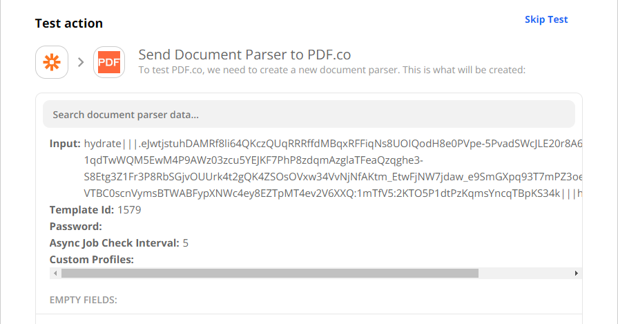 Test Document Parser Configuration