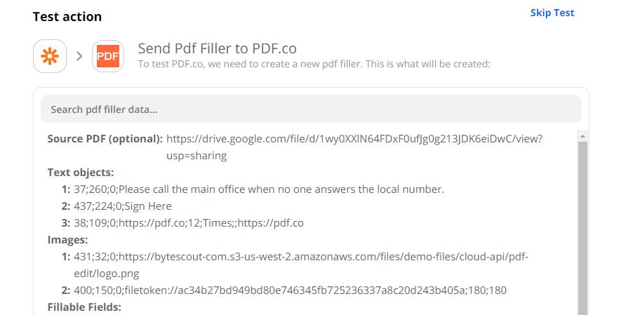 Send PDF Filler Test