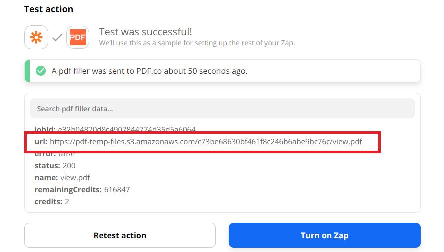 PDF Output URL